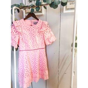 ASOS Pink Eyelit Lace Dress Size 2